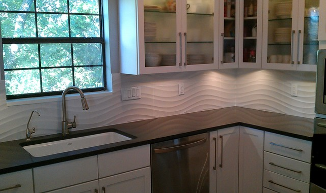 Kitchen backsplash white wave panel tile contemporary kitchen austin by custom - Kitchen backsplash panel ...