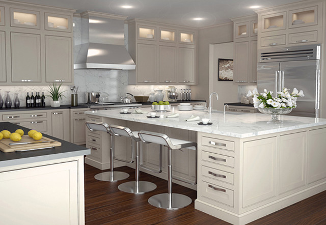 Example Of A Trendy L Shaped Eat In Kitchen Design Philadelphia With An