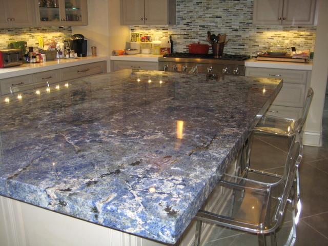 Kitchen Blue Bahia Granite Island Traditional Kitchen New Orleans By Labruyere Stone