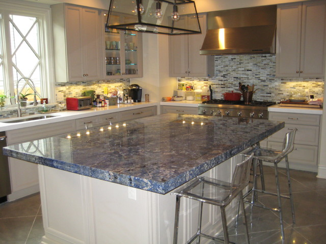 Kitchen Blue Bahia Granite Island  Traditional  Kitchen  new