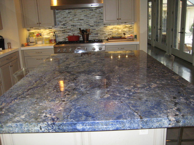 Awesome Kitchen: Blue Bahia Granite Island Traditional Kitchen