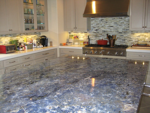 Kitchen: Blue Bahia Granite Island Traditional Kitchen
