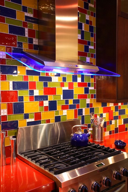 Kitchen - Blue, Green, Red & Yellow Glass Tile contemporary-kitchen