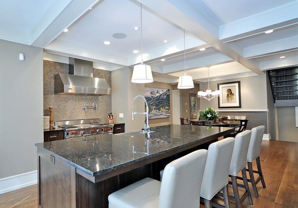 Inspiration for a transitional medium tone wood floor kitchen remodel in Calgary with mosaic tile backsplash, stainless steel appliances, metallic backsplash, a farmhouse sink, dark wood cabinets and granite countertops