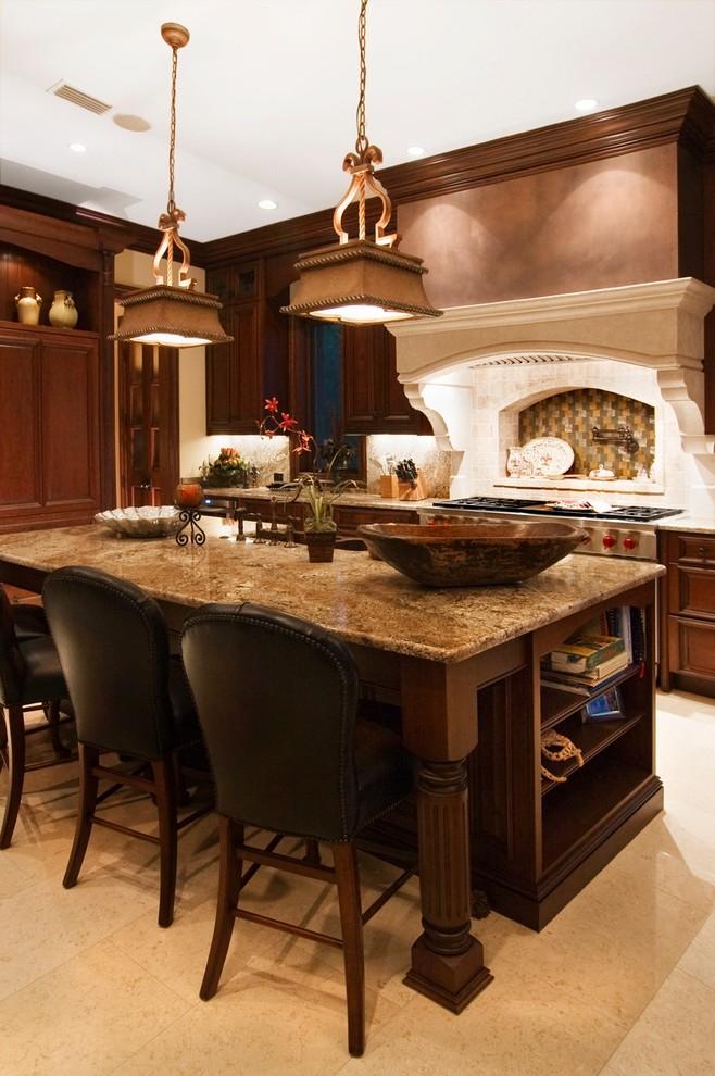 Kitchen - mediterranean kitchen idea in Other with multicolored backsplash and stainless steel appliances