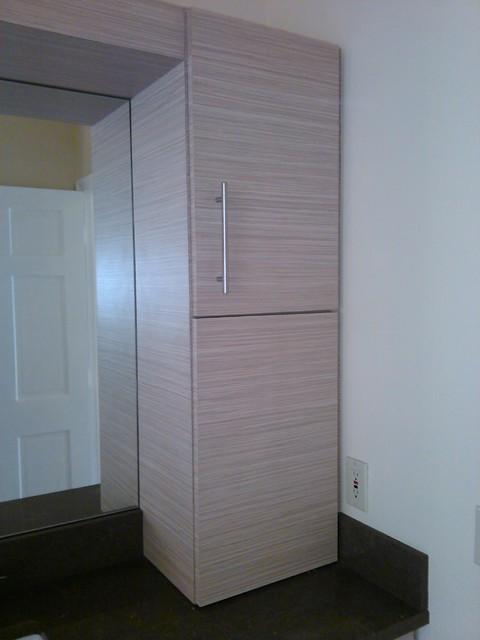 kitchen cabinet and bathroom vanities in textured laminate