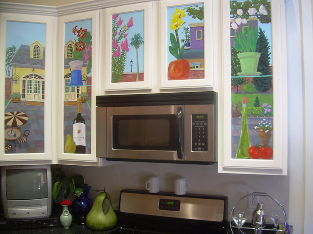 Kitchen Cabinet Mural Traditional Kitchen