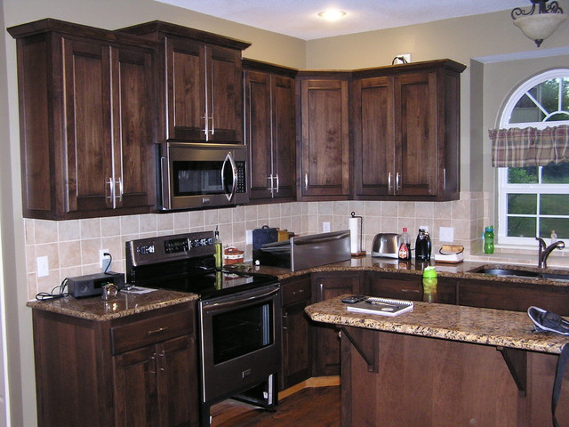 Kitchen Cabinet Refacing In A Mediterranean Stain Traditional
