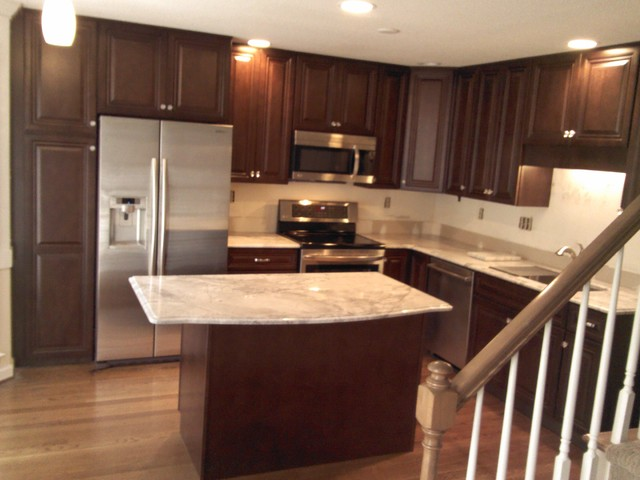 Kitchen Cabinet Replacement From Oak To Walnut Stained