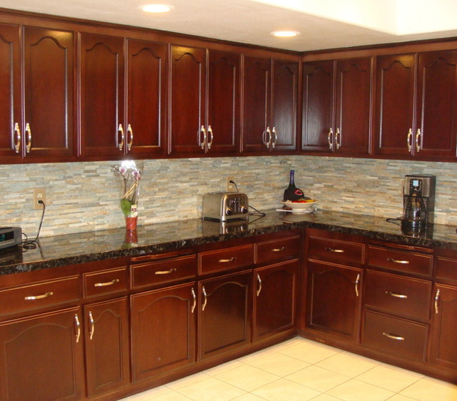 Kitchen cabinet staining traditional kitchen san for Kitchen cabinets 75 off