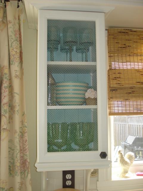 kitchen cabinet with chicken wire