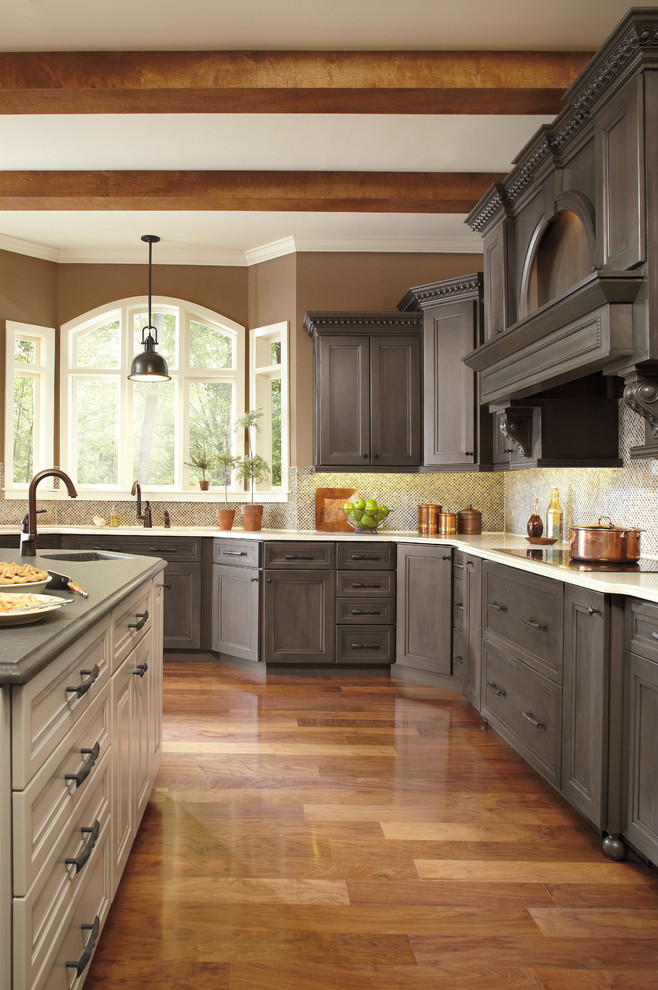 Elegant kitchen photo in Other with recessed-panel cabinets, gray cabinets, multicolored backsplash and white countertops