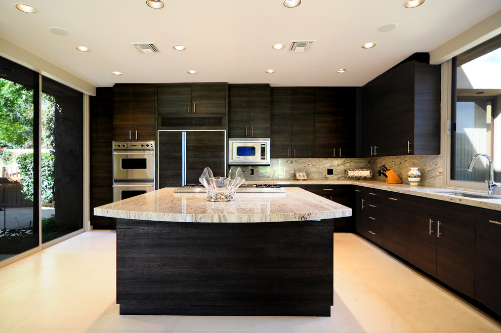 Inspiration for a huge modern l-shaped ceramic tile eat-in kitchen remodel in Other with an undermount sink, flat-panel cabinets, black cabinets, solid surface countertops, multicolored backsplash, stone slab backsplash, stainless steel appliances and an island