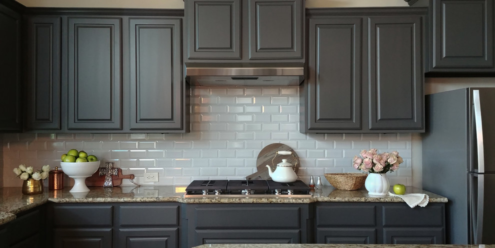 Kitchen Cabinets And Shiplap Walls In Kendall Charcoal Farmhouse Kitchen Austin By Paper Moon Painting