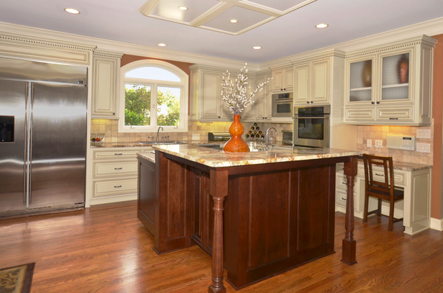 Kitchen Cabinets Ivory Clean Glaze with Stained Island traditional