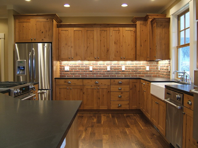 Kitchen Cabinets Knotty Alder kitchen cabinets - rustic - kitchen - portland -kaufman homes