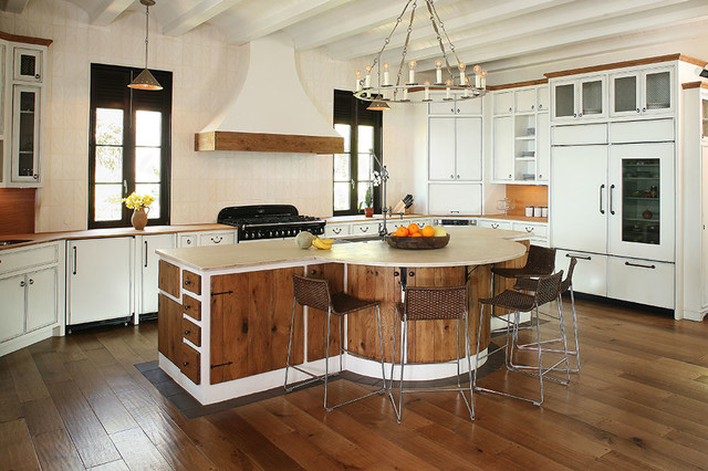 Kitchen cabinets - mixed styles of stained wood and modern white - Kitchen - charleston - by ...