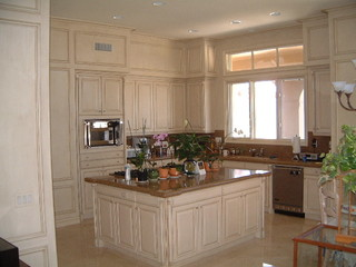 Kitchen Cabinets With Cream And Coffee Glazed Finish