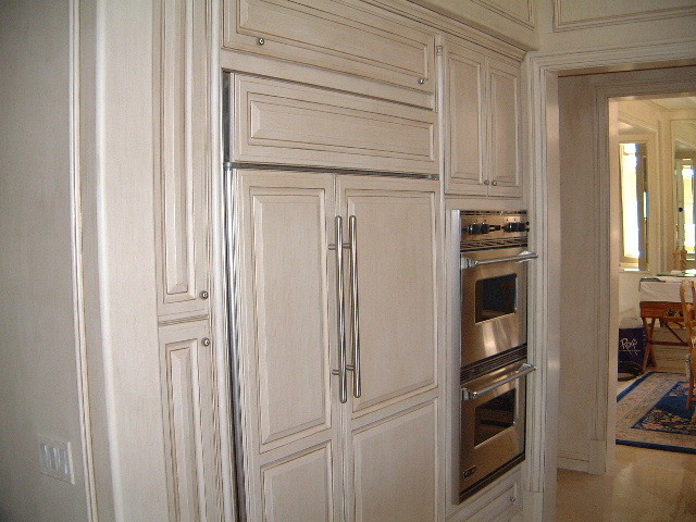 Kitchen cabinets with cream and coffee glazed finish traditional kitchen los angeles by - How to glaze kitchen cabinets cream ...