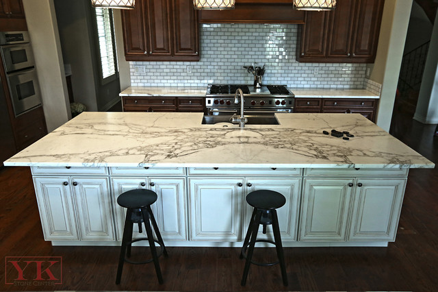 Kitchen Calacatta Gold Marble Countertops - Traditional - Kitchen - denver - by YK Stone Center Inc.