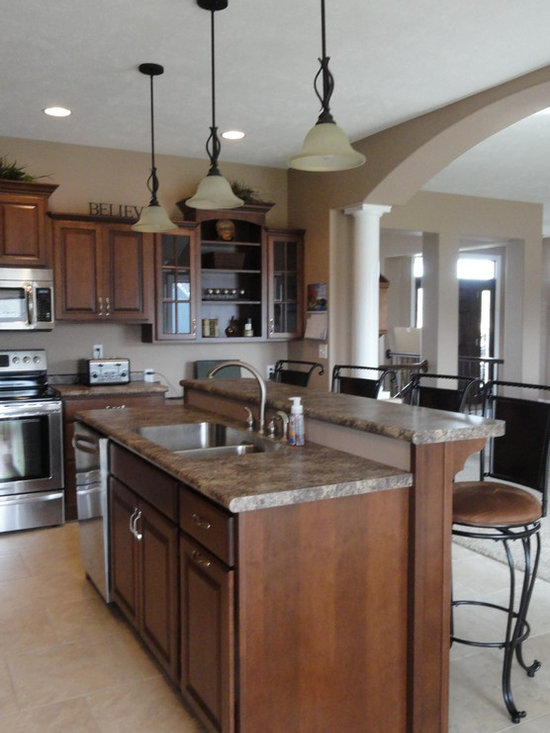 With Laminate Countertops Black Cabinets And Dark Wood Cabinets ...