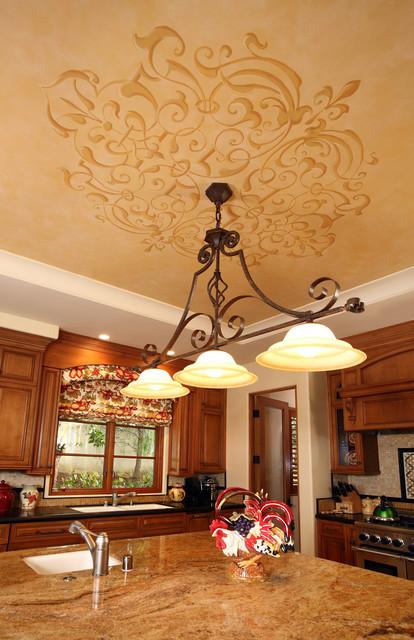 Kitchen Wall Decor Orange : Kitchen ceiling art traditional orange