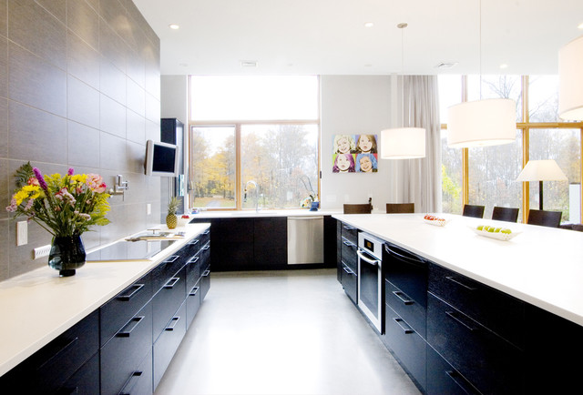 Trendy Kitchen Photo In Boston With Stainless Steel Liances Flat Panel Cabinets And Black