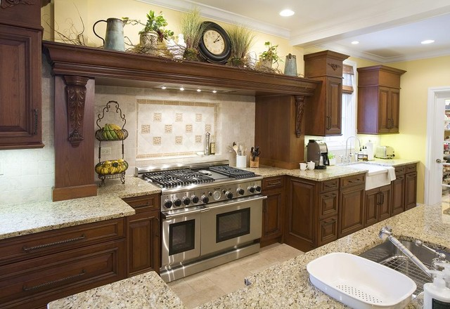 example of a mountain style kitchen design in chicago with an undermount sink raised - Raised Panel Kitchen Decor