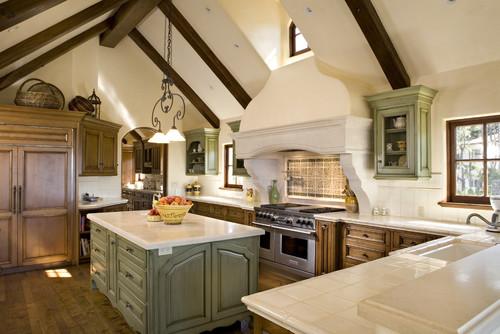 Vintage Style Kitchen - Rangehood and countertops idea.