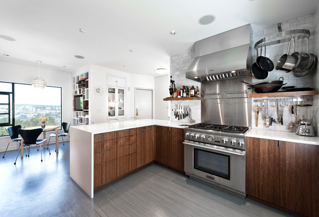 Example Of A Trendy L Shaped Eat In Kitchen Design In Seattle With Flat