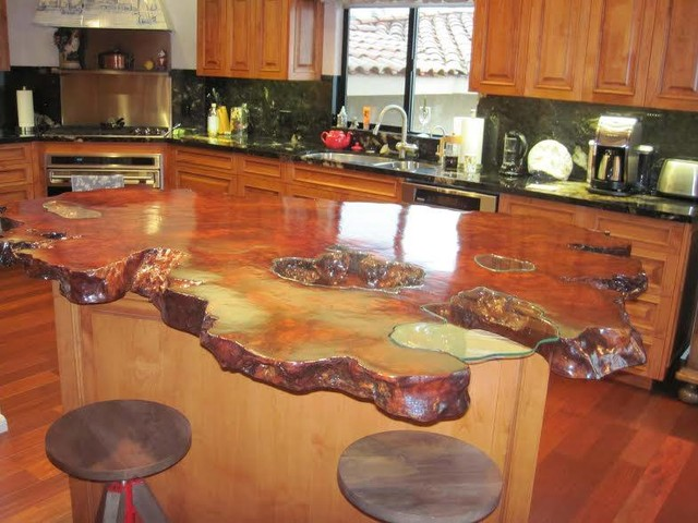 Kitchen Countertop W Glass Filled Voids Rustic Kitchen Other By Redwood Burl Inc