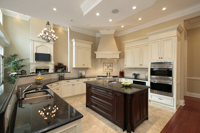 Kitchen Design & Granite Countertop - Travertine Floor Tiles ...