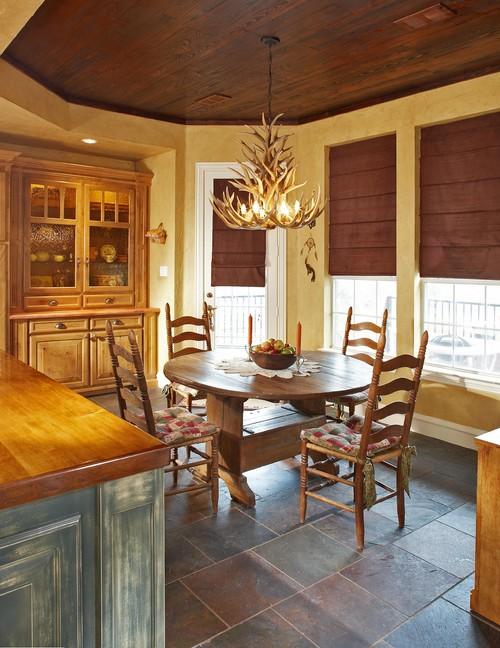 antler chandeleir in traditional design kitchen