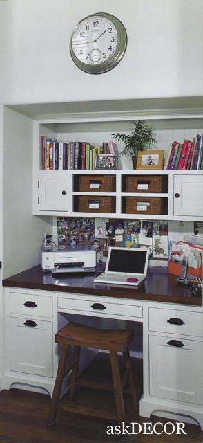Kitchen Desk Area With Corkboard Basket Storage traditional-kitchen