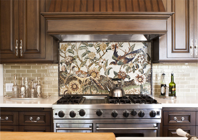 Kitchen detail of custom mosaic tile traditional-kitchen
