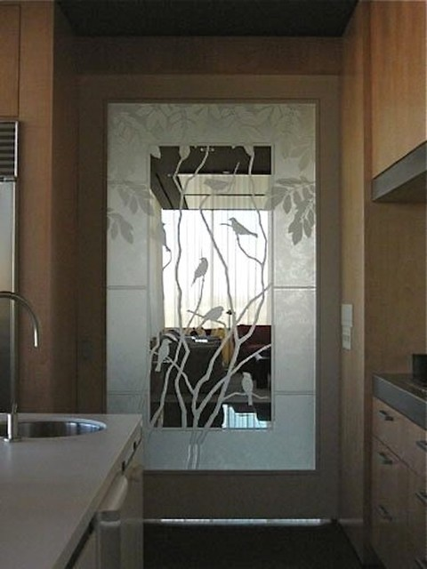 Modern Kitchen Doors kitchen door - modern - kitchen - houston -custom etched glass