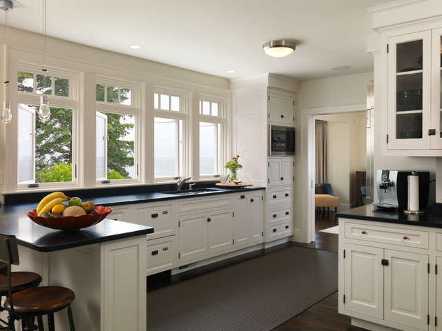 Black And White Traditional Kitchen york harbor maine - traditional - kitchen - boston -duffy