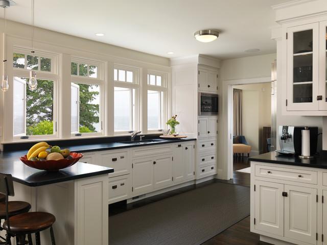 white shaker cabinets black countertops 1