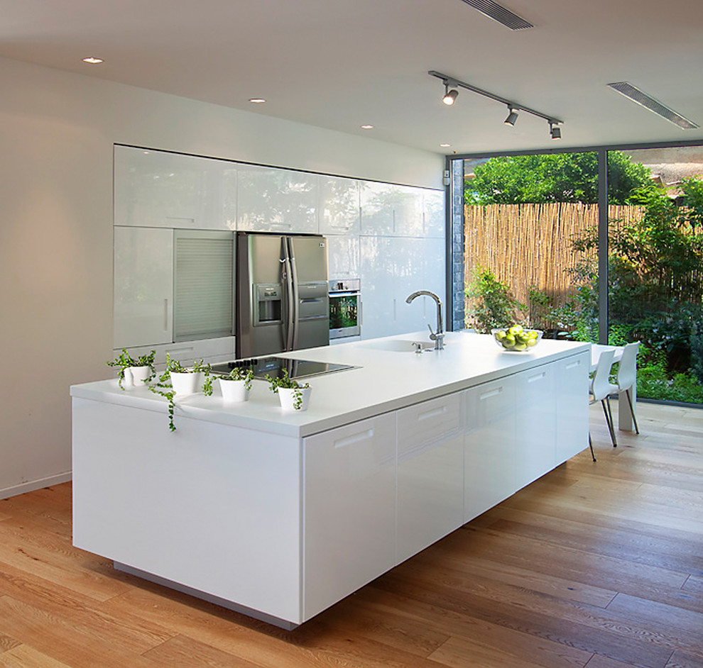 Inspiration for a modern galley kitchen remodel in Other with stainless steel appliances, an integrated sink, flat-panel cabinets and white cabinets