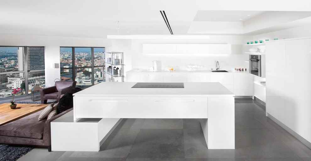Inspiration for a modern open concept kitchen remodel in Other with flat-panel cabinets and white cabinets