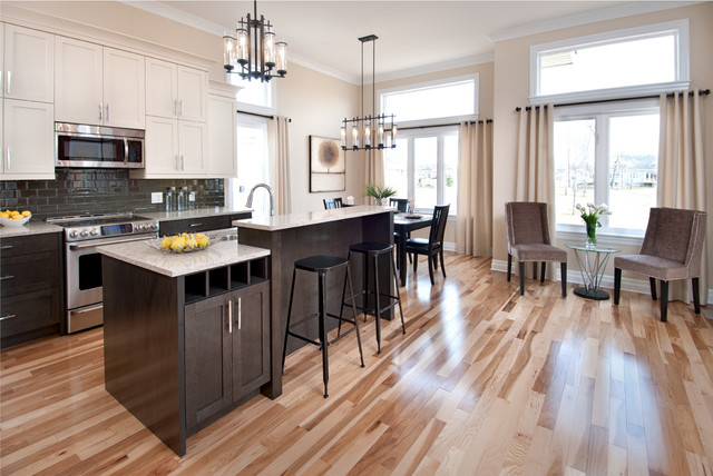 kitchens with espresso cabinets. Example of a trendy kitchen design in Ottawa with stainless steel  appliances and subway tile backsplash Espresso Cabinets Houzz
