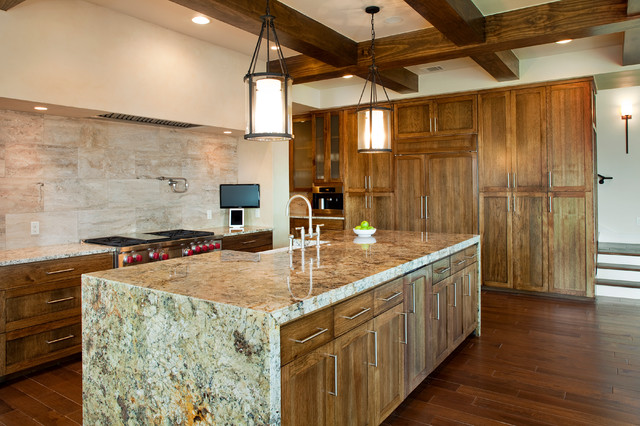 Kitchen exposed beams waterfall granite countertops ...