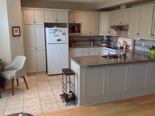 Kitchen facelift using Benjamin Moore Revere Pewter and a