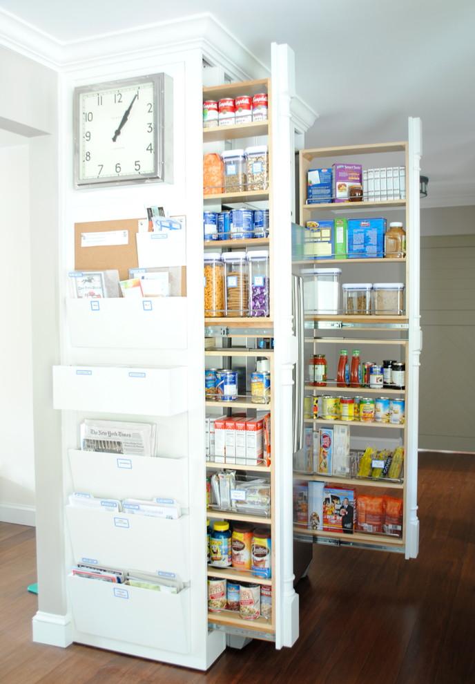 Kitchen - transitional dark wood floor kitchen idea in Boston with white cabinets