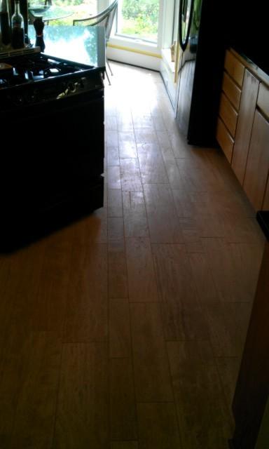 Kitchen Floor - Travetine Plank Tile contemporary-kitchen