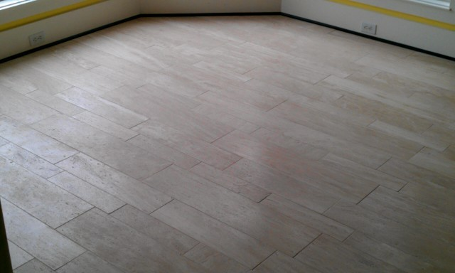 Kitchen Floor Travetine Plank Tile Contemporary Kitchen