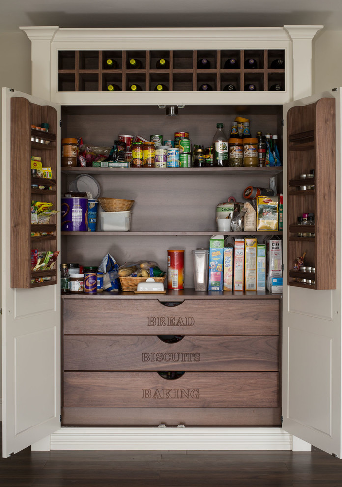 Inspiration for a timeless dark wood floor kitchen pantry remodel in Dublin with white cabinets