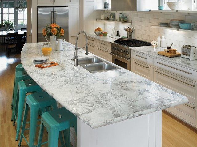 L Shaped Eat In Kitchen Idea In Cincinnati With Laminate Countertops, White  Backsplash