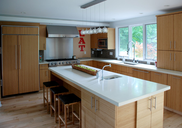 Example Of A Trendy Kitchen Design In Detroit With Paneled Appliances And  Concrete Countertops