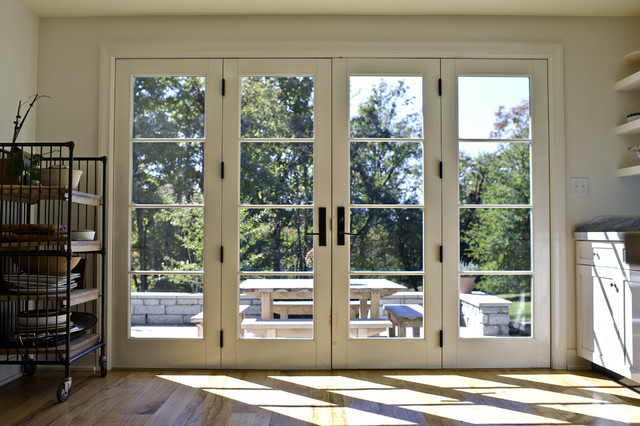 Kitchen french doors closed traditional kitchen - How wide are exterior french doors ...
